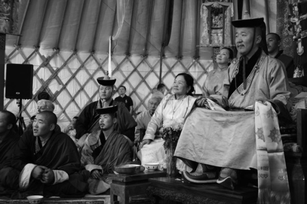 This photo was taken at Zava Lama's birthday celebrations at Delgeruun Choira in Delgertsogt Sum in 2014, just prior to our starting work on The Great Nenchen manuscript. Reprinted with permission from the Zava Damdin Sutra and Scripture Institute, Ulaanbaatar.