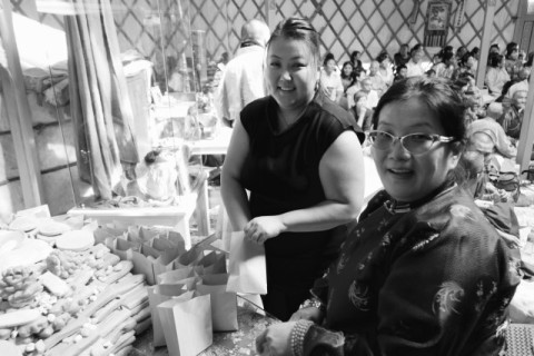 B. Enerel (left) and Solongo (right) here are seen assembling individual small packages of traditional tsog offerings to be handed to each of the guests who attended Zava Damdin Bagsh's birthday celebration.Delgeruun Choira, 5 September 2015. Photo: C.Pleteshner
