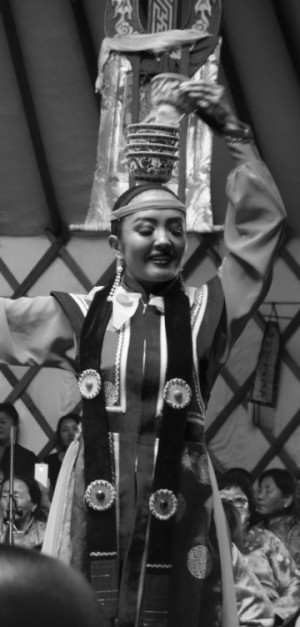 Suvdsuren from the Mongolian National Folk and Dance Ensemble) performs, 'Dancing with the Cups', an old traditional Mongol dance performed always by women.Delgeruun Choira, 5 September 2015. Photo: C.Pleteshner