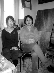 The Mongolian artist S. Gantsatstral (right) with her daughter B. Enerel (left) who is also a trained artist in their studio at the Mongolian Union of Artists building in Ulanbaator in 2008