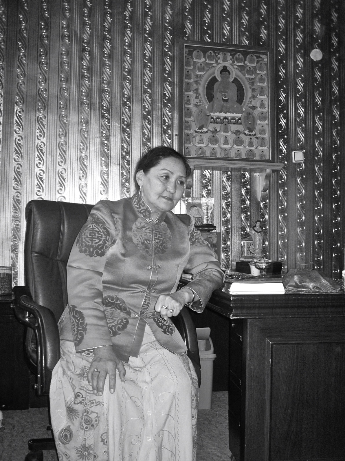 Abbess Gantumur in her office, Tugsbayasgalant Mongolian Gelug Women's Centre. 26 September 2008. Photograph: C Pleteshner