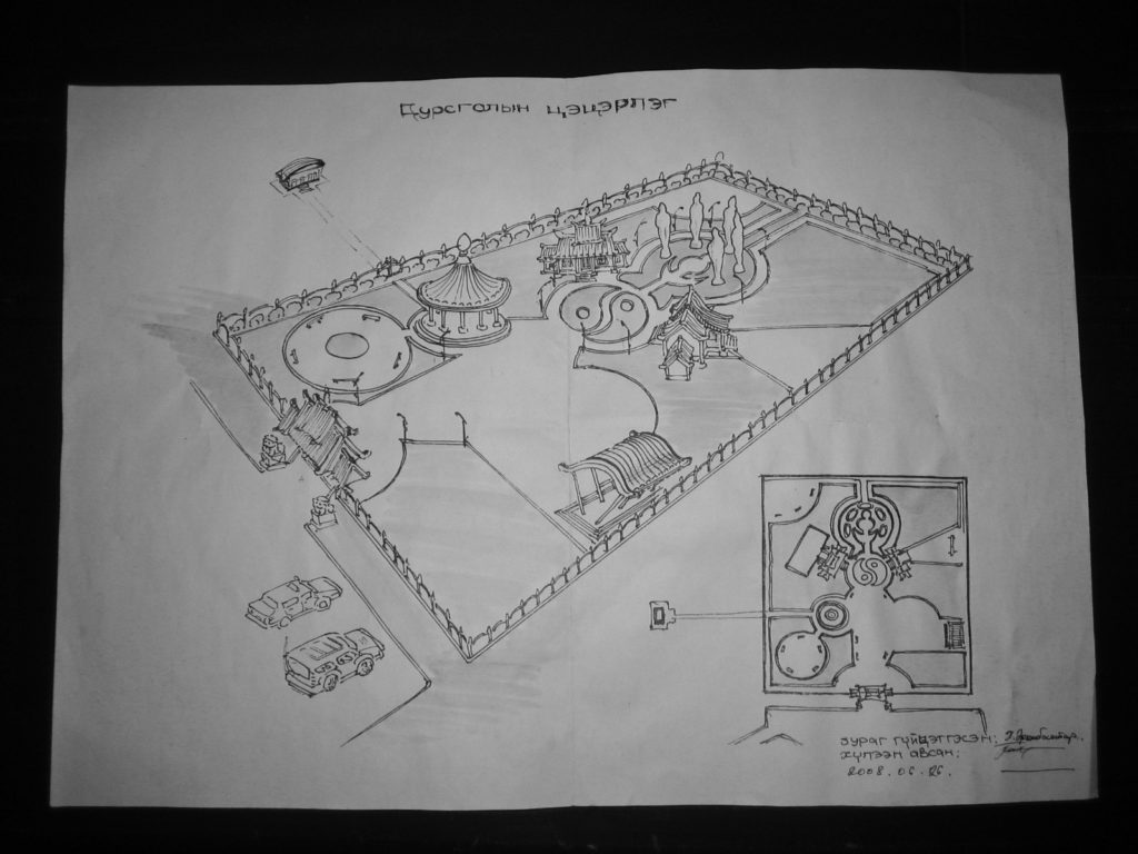 Preliminary Line Drawings for a Tugsbaysgalant Meditation Park. Reproduced courtesy N Gantumur. 26 September 2008.