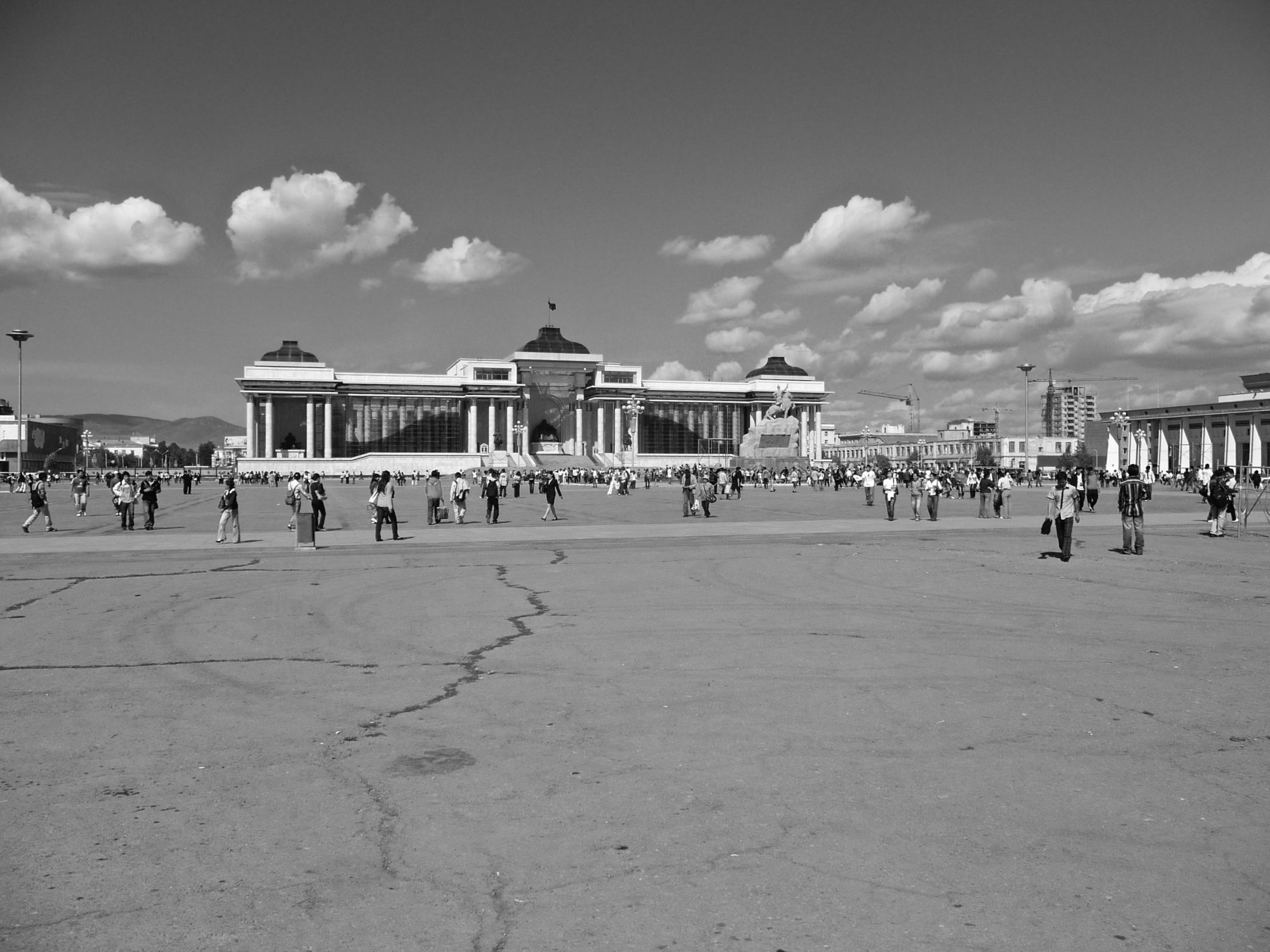 Statue of D.Suukbaatar upon his horse (original location, centre right) was created in 1946 by the sculptor Sonomyn Choimbol (1907-1970). Sukhbaatar Square in Ulaanbaator. 1 September 2008. Photograph: C.Pleteshner