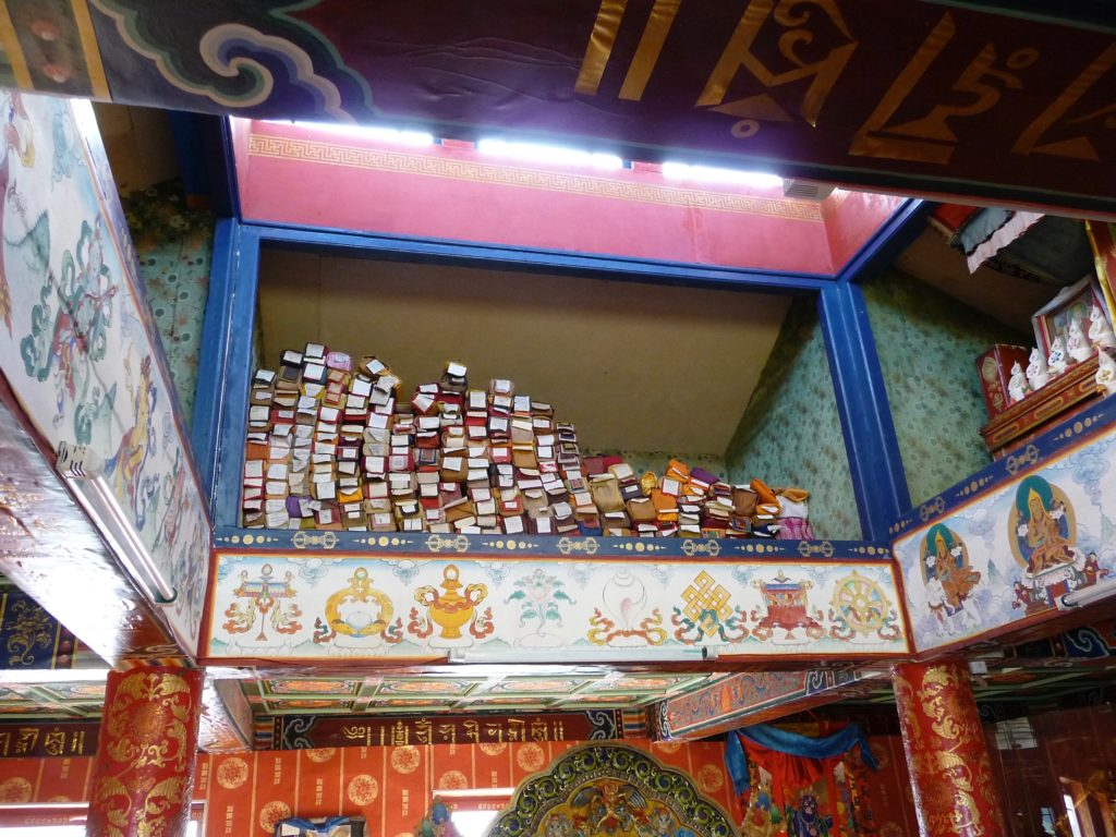 Sutras and other texts stored in The Joyful Temple of Manjushri with other artifacts. Delgeruun Choira in Dundgovi Aimag, Mongolia 23 September 2008. Photograph C.Pleteshner